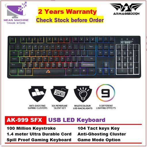 [Combo] Armaggeddon AK-999 SFX Spill Proof 9 Pulsing LED 104 Key Gaming  Keyboard