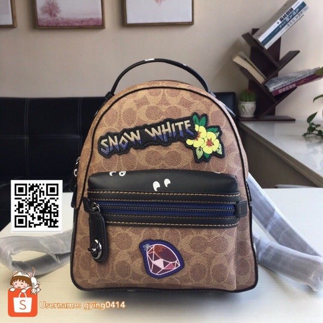 31a7672ce61 Disney Coach Campus Backpack 23 In Signature Patchwork Snow White Bag