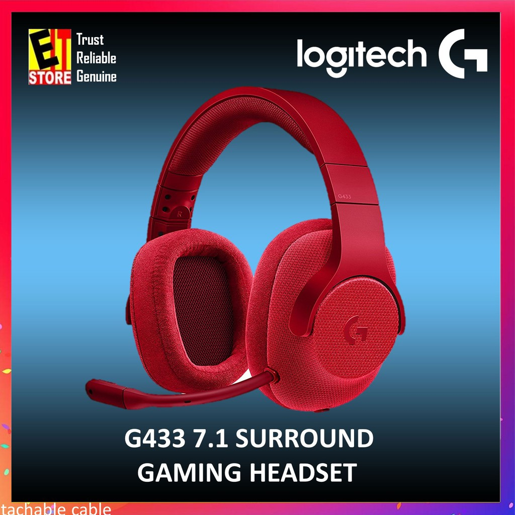 LOGITECH G433 RED 7 1 WIRED SURROUND GAMING HEADSET