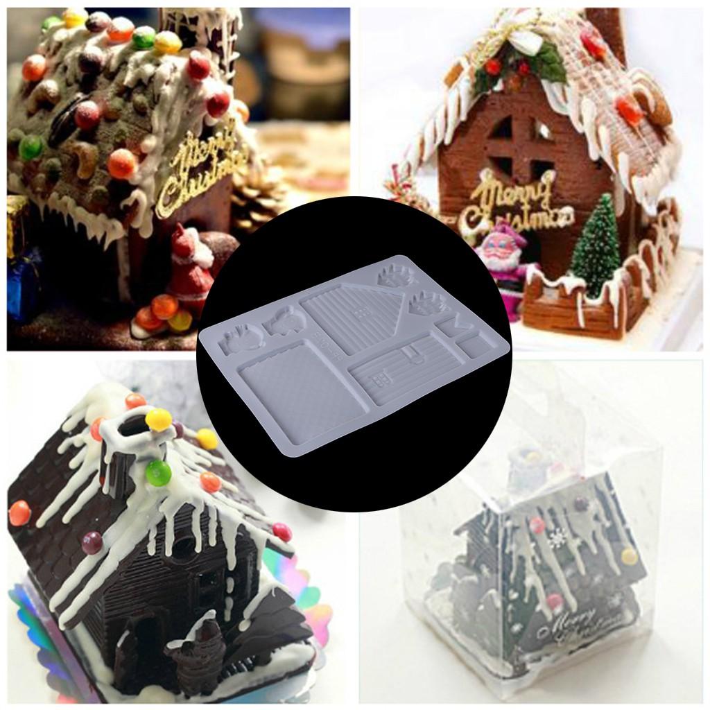 Handmade Diy House Silicone Cake Mold Tool Small Christmas House