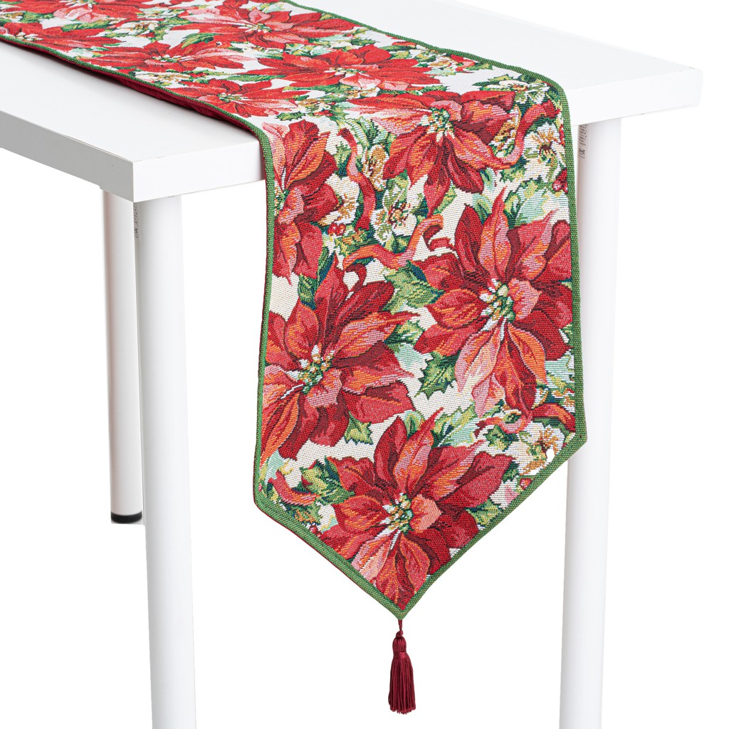 Poinsettia Tapestry Jacquard With Back TC Fabric Lining & Tassel  Rectangle Table Runner/Dresser Scarf. Multi-Size (Red)