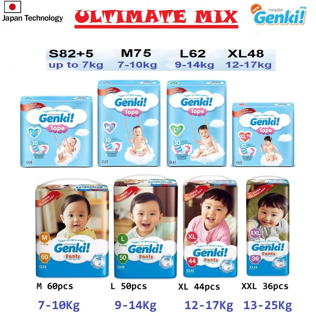 Genki Jumbo Pants M L Xl Xxl 4 Packs Shopee Malaysia Nepia New Premium Baby Diapers Soft Tape S 72