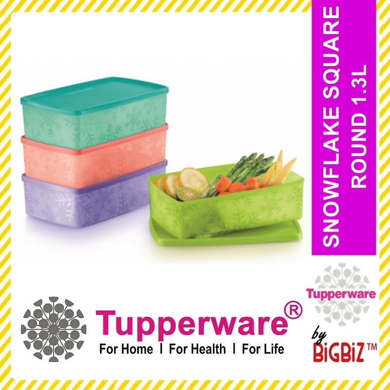 Original TUPPERWARE Snowflake Square Round 1.3L Bekas Kuih Raya [ Ready Stock ]