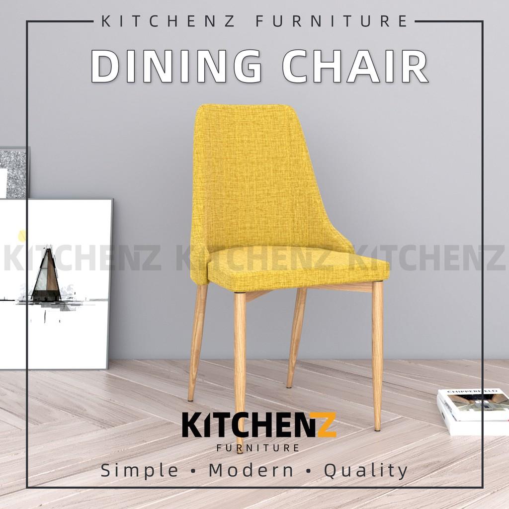 KitchenZ 2pcs Dining Chair Modern Style / Fabric Leather Material & Metal Leg / Kerusi Makan - HMZ-FN-DC022-YL