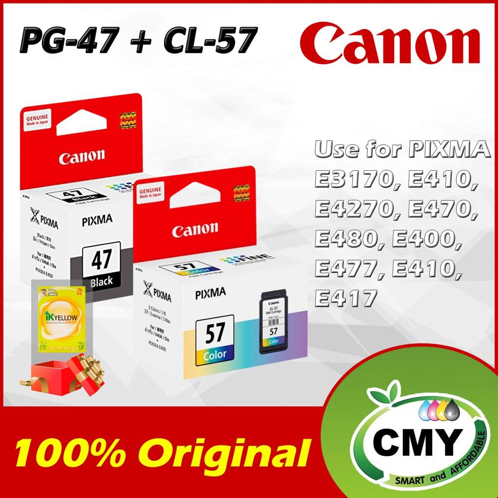 Canon Genuine Original PG-47 Black + CL-57 Color Ink Cartridge for CANON PIXMA E400 E410 E460 E470 E480