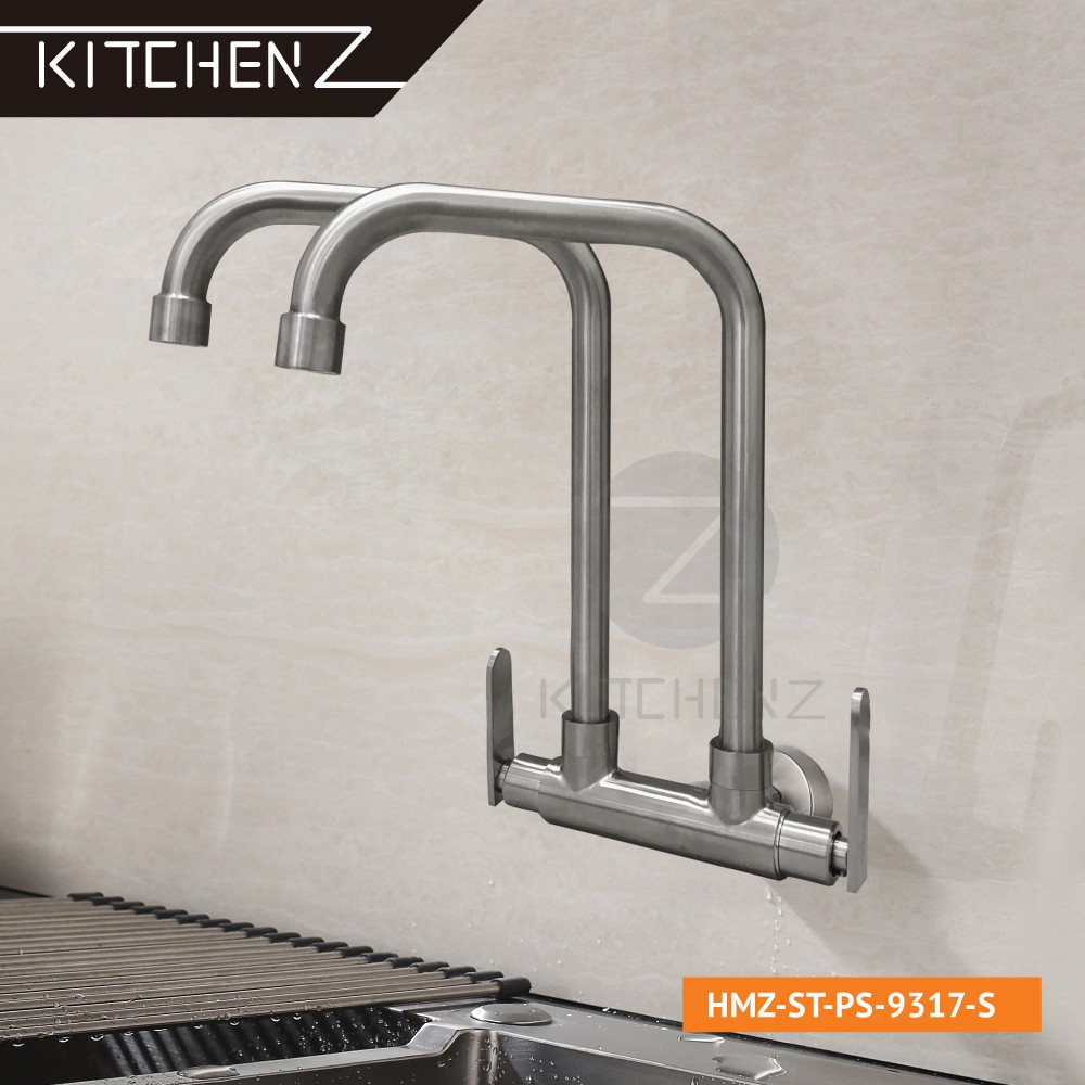 Kitchenz SUS304 Stainless Steel Double Twin Kitchen Faucet Wall Sink Tap L Spout HMZ-ST-WS-9317-S