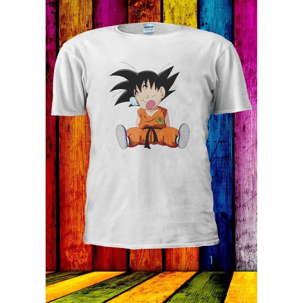 Mens Anime Little Goku Sleep Printed Dragon Ball Z SaiYan Short Sleeve T-shirt