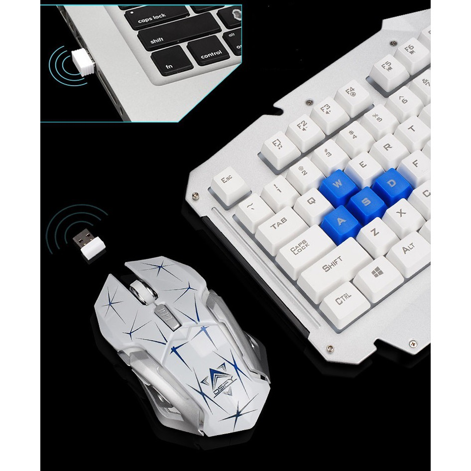 b161dc0fbbf HK1600 2.4GHz Wireless Mechanical Feeling Gaming Keyboard and Mouse Combo.  1/9