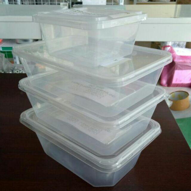 10Pcs Rect  Square Food Cake Container Tupperware Microwave heating Bekas  Kek Makanan SQ250 / RC650 / RC750 / RT1000