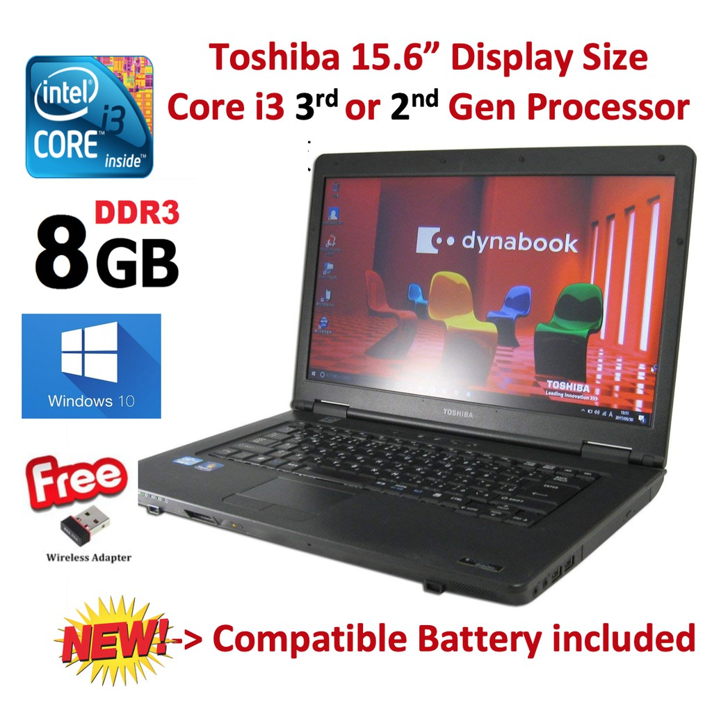 Battery Baru - Toshiba i3 2nd/3rd Gen 2/4/8 GB RAM B552 USB Wifi Laptop  Notebook(Refurbished)