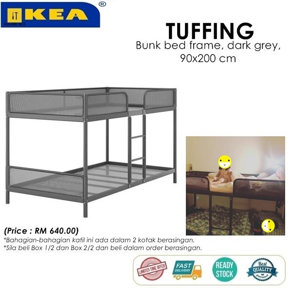 Ikea Tuffing Bunk Bed Frame Dark Grey 90x200 Cm Shopee Malaysia