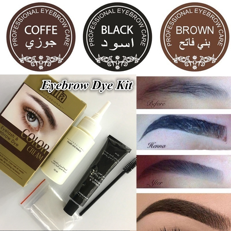 1 Box 3 Color Henna Eyebrow Eyelashes Cream Professional Color Tint Kit Set  Dye