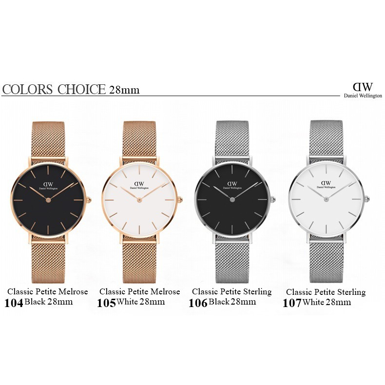 45a0b204ca82 Daniel Wellington classic petite melrose sterling black white28mm wt ...