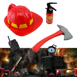 5PCS Set Fire Rescue Helmet Hat Simulation Kid Toy Extinguisher Firefighter
