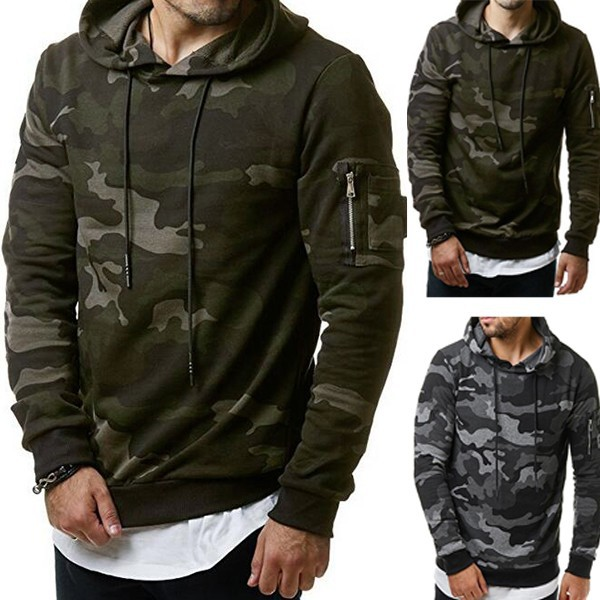 Fall Mens Casual Hoodies Camouflage Military Zipper Sweatshirt Tracksuit Tops