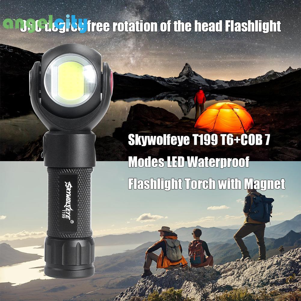 4-Modes Sky Wolf Eye T6+COB LED Flashlight USB Rechargeable Torch Bright Lamp