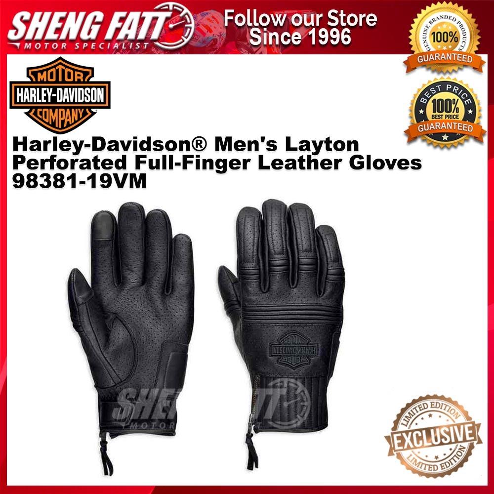 Harley-Davidson® Men's Layton Perforated Full-Finger Leather Gloves 98381-19VM