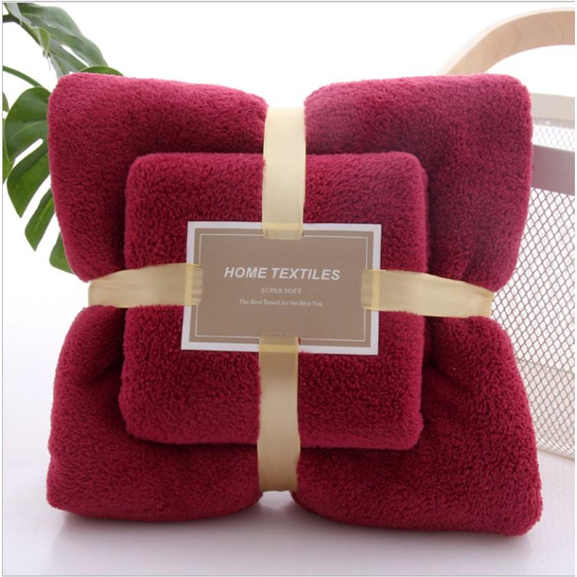 HOMEY [M'sia] 2pcs luxury Super Large Towel 2in1 Microfiber Set High Absorbent Soft Bath Towel + Face Towels Tuala Mandi