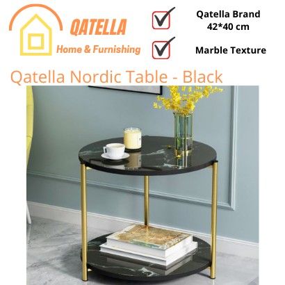 Qatella Coffee Table Side Table Double Layers Round/Square small table Marble Strap Surface and Chrome Steel Frame Legs