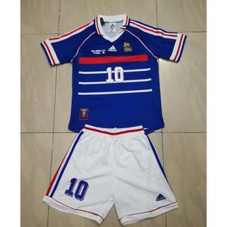Top Quality 1998 Retro France Zidane Soccer Jersey Kids Kits Shopee Malaysia