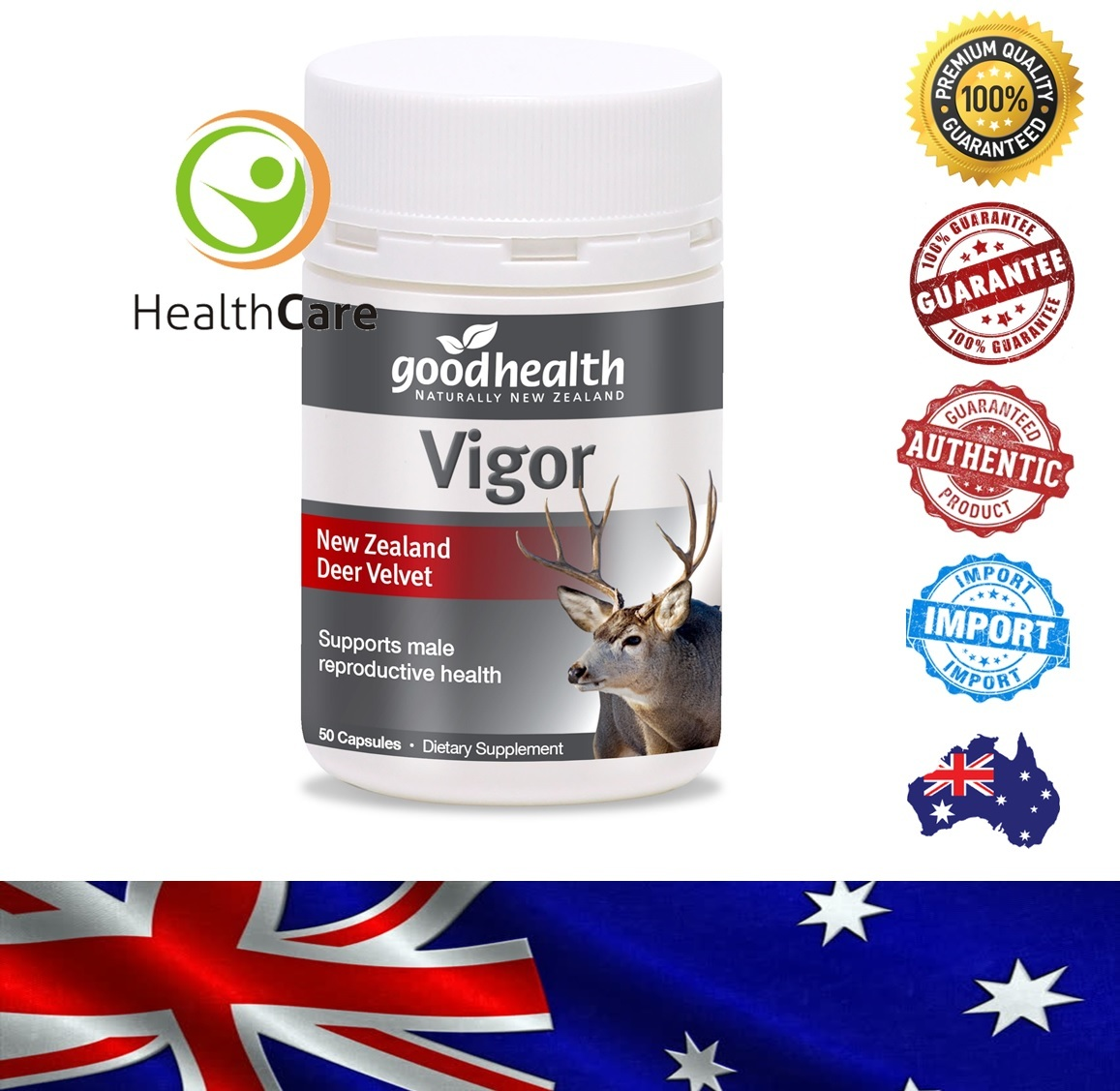 【Ready Stock】Good Health Vigor Deer Velvet  鹿茸精胶囊 (50 Capsules / 胶囊)