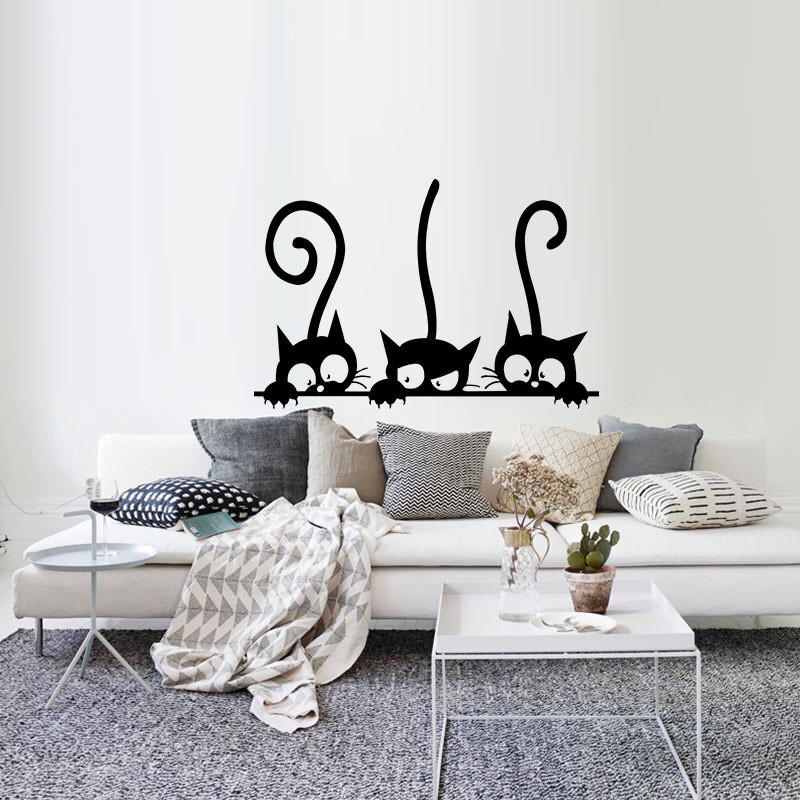 Cute Nine Cats Removable Wall Stickers DIY Home Art Decal Room Decoration
