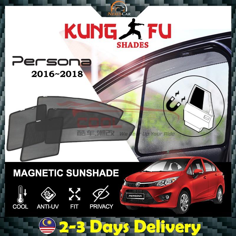 🔥ReadyStock🔥Proton Persona 2016-2018 KUNG FU SHADES Fully Magnectic  Sunshade 4 PCS
