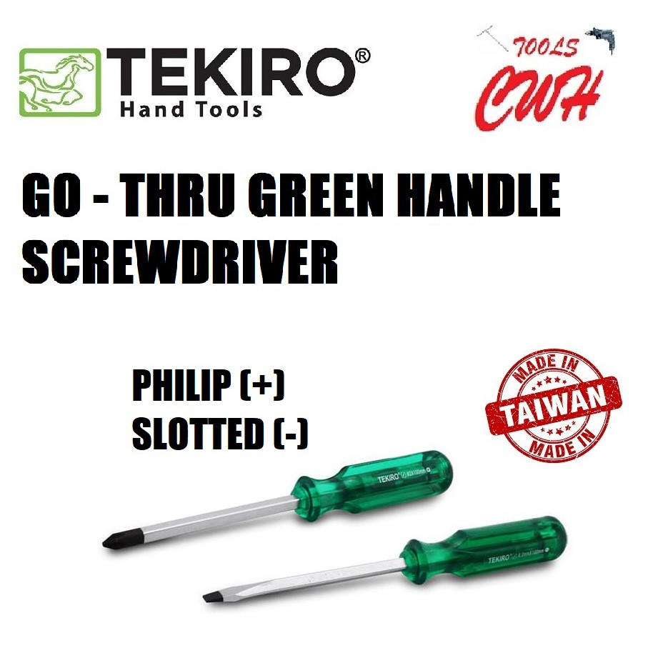 TEKIRO GO - THRU GREEN HANDLE SCREWDRIVER PHILIP(+) SLOTTED(-) GREEN HNDL TEKIRO WITH LENGTH 75MM TO 300MM