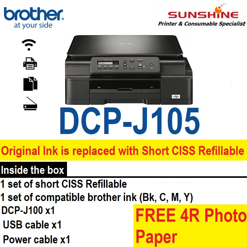 Brother DCP-J105 InkBenefit + Short CISS (Refillable) *FREE PHOTO PAPER*