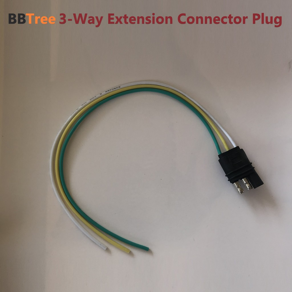BBTree 4-pin Trailer Wire Extension,12 inch,4-Way Flat Socket-Hitch Light Trailer Wiring Harness Extension Connector T/&M