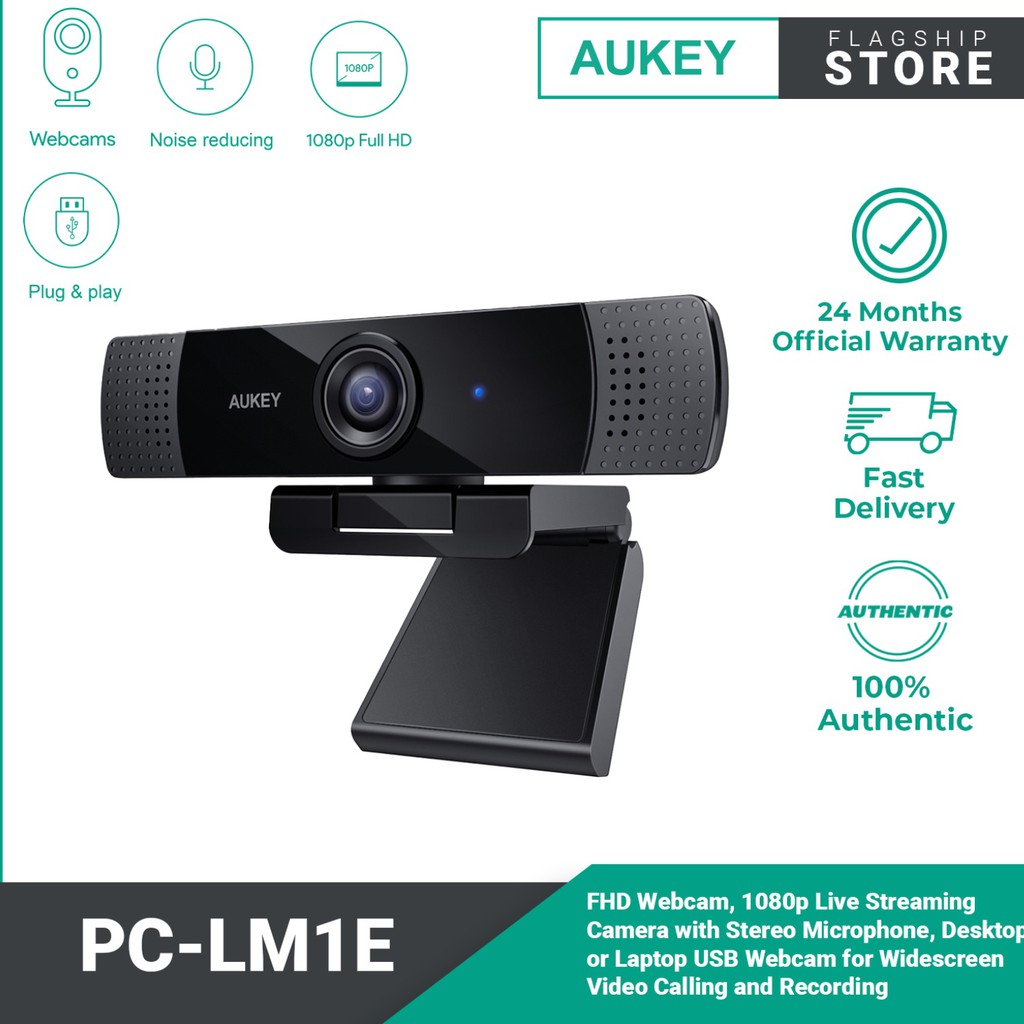 AUKEY PC-LM1E FHD Webcam, 1080p Live Streaming Camera with Stereo Microphone, Desktop or Laptop USB Webcam