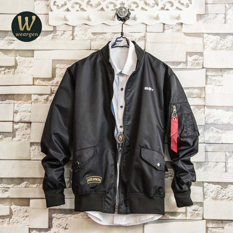d5337662c4a Weargen Women Men MA-1 Air Force One Solid Flight Bomber Jacket Couple  jacket