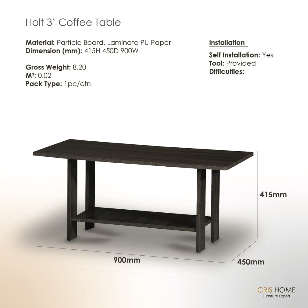 CrisHome - HOLT 3' Coffee Table ( Free Shipping to West Malaysia )
