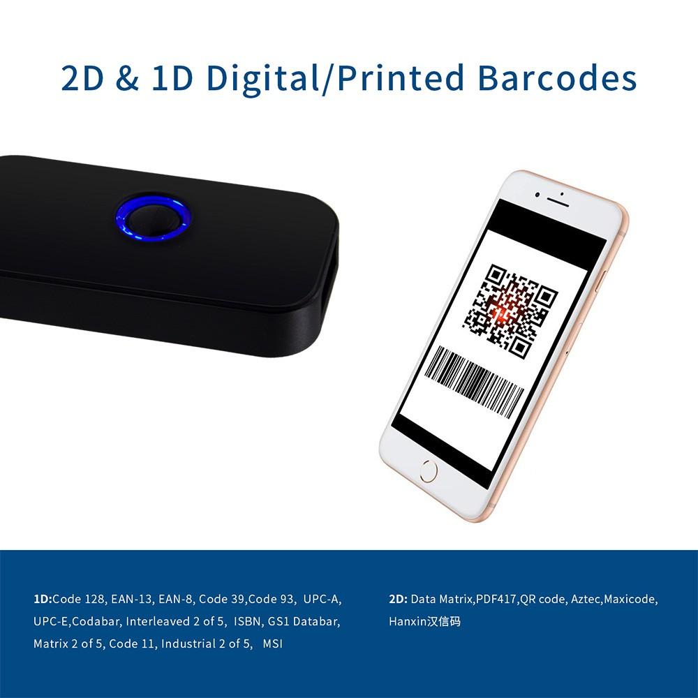 2D Bluetooth Barcode Scanner 1D 2D Bluetooth Wireless Bar