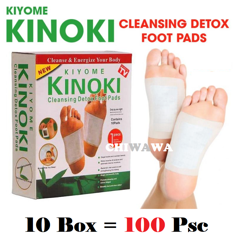 【10Box 100pcs】 Kiyome Kinoki Cleansing Detox Foot Leg Healthy Herbal Pads Ubat