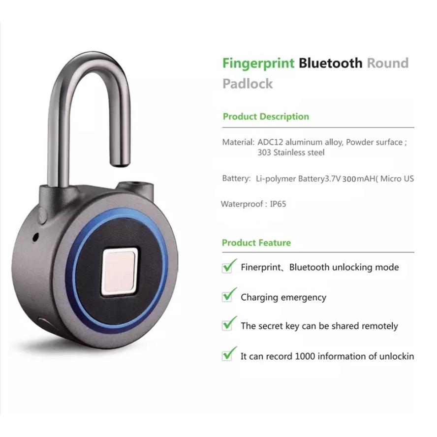 New IP65 Waterproof Bluetooth fingerprint padlock Fingerprint Lock