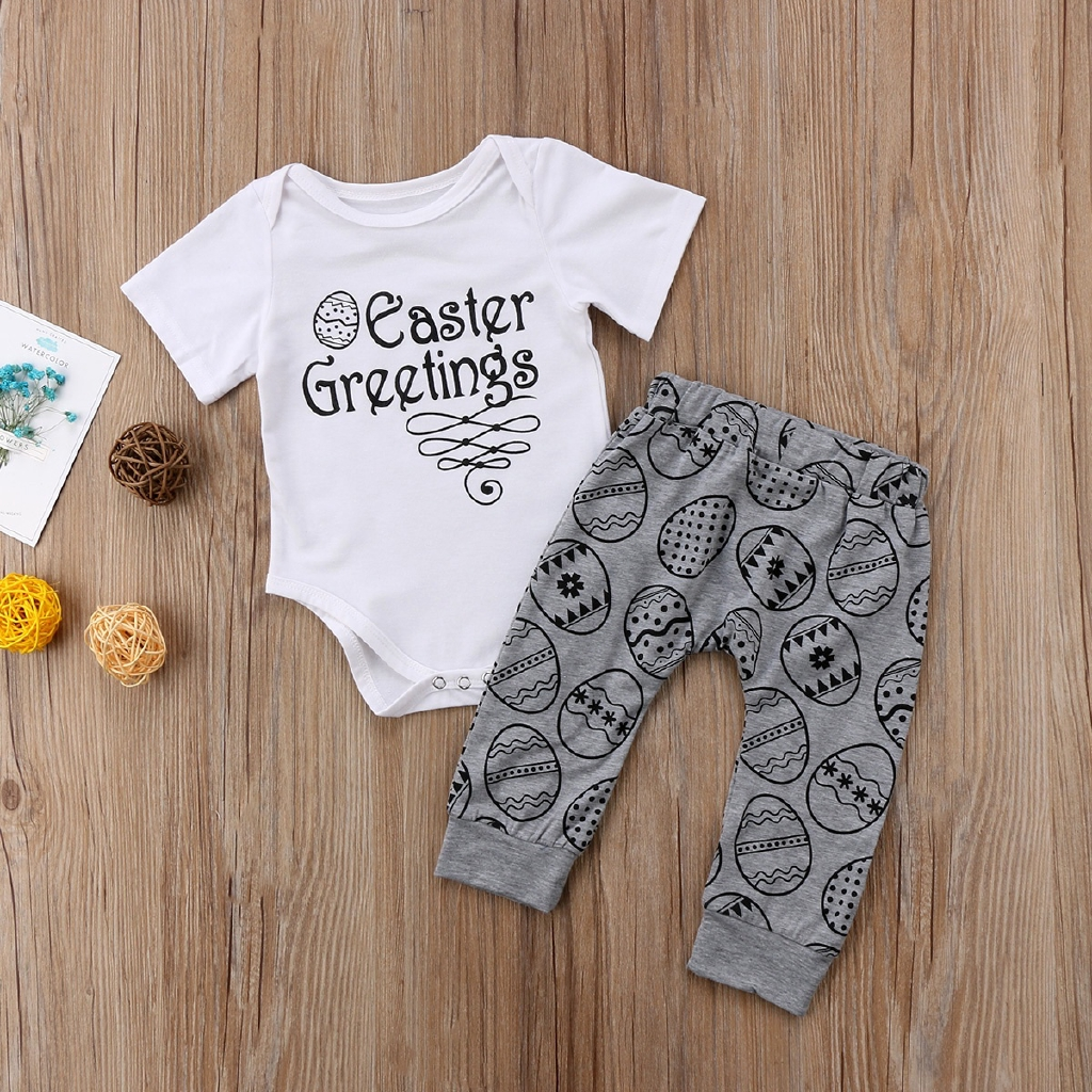 UK Newborn Baby Boy Girl Easter Clothes T-shirt Tops+Long Pants 2PCS Outfits Set