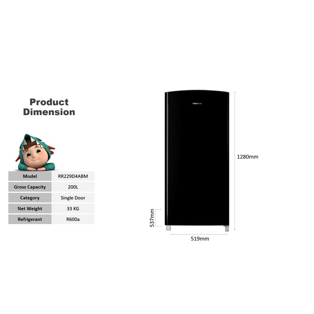 Hisense RR229D4ABM 200L 1 Door Single Refrigerator Fridge Peti Sejuk