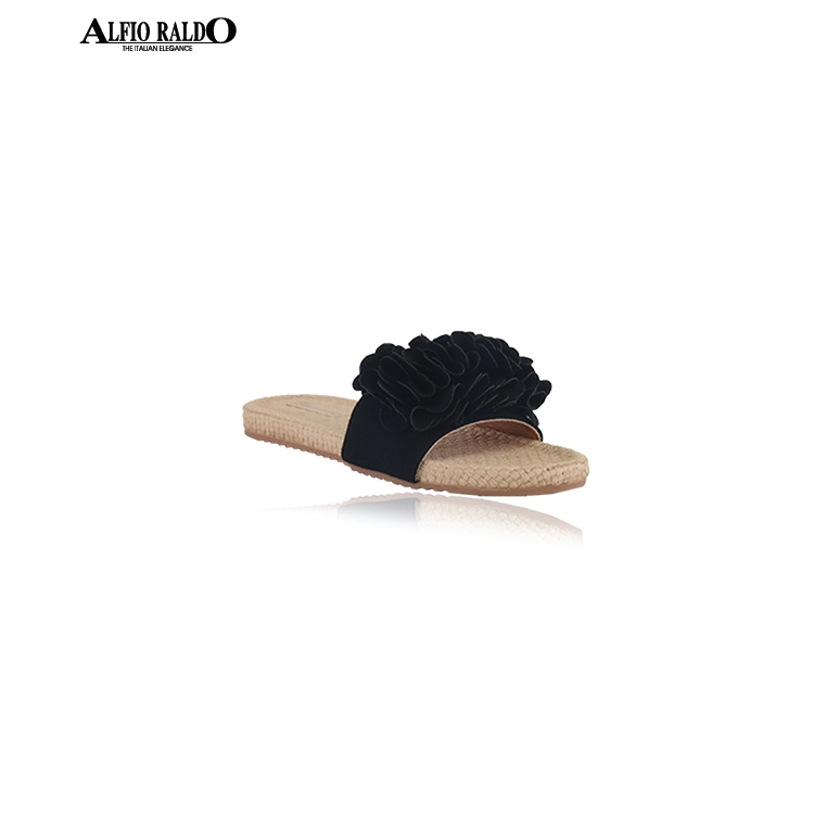 Alfio Raldo Black Flat Beach Sandal Comfortable Daily Shoes with Floral Top