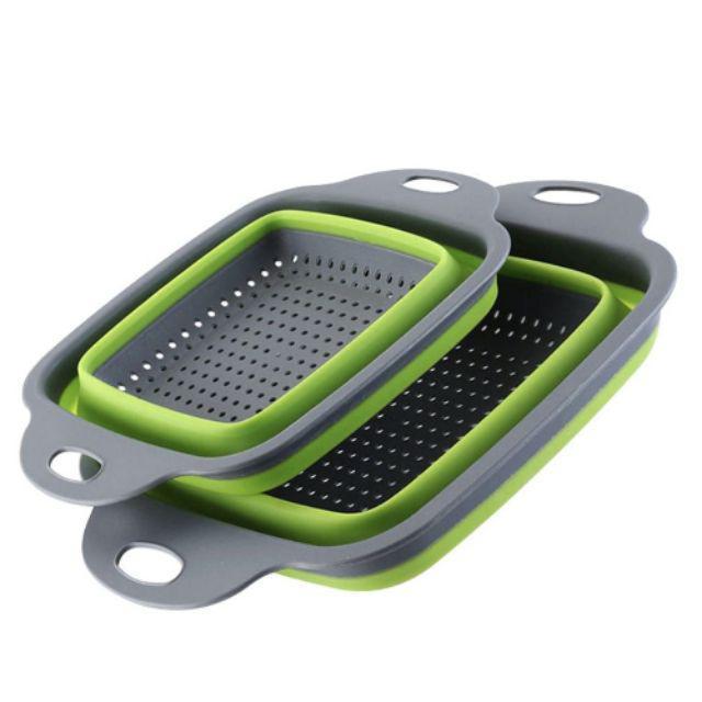 Set 2pcs Penapis Makanan Silicone/ Set 2pcs Foldable Drain Basket Strainer Colander