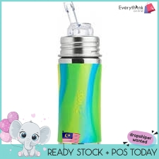 PURA KIKI STRAW CUP BOTTLE 11OZ/325ML WITH SLEEVE BABY BOTTLE BPA FREE