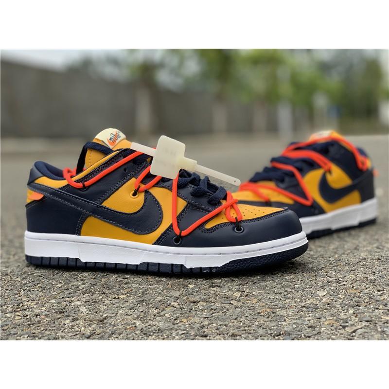 Original Off White X Nike Sb Dunk low Michigan Yellow Navy Shoe (CT0856-700)
