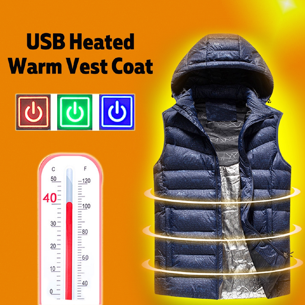 3a79aa390 Man Winter Heated Vest Jacket Adjustable Temperature Sleevless Washable Coat