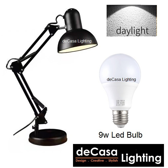 * (SET WITH 9W LED BULB) READY STOCK Adjustable Desk Lamp Study Light Modern Table Lamp Black Lampu Meja Baca (810-BK)