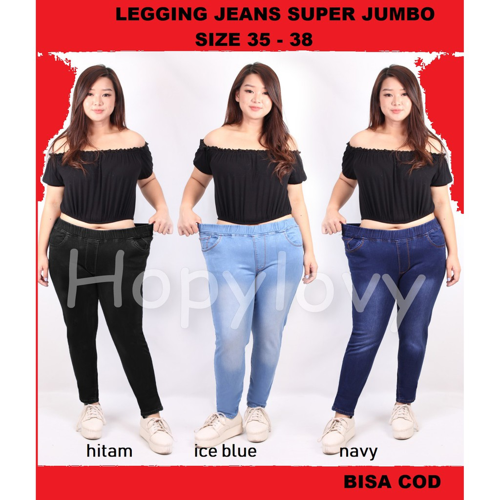 Hopylovy Super Jumbo Rubber Waist Jeans Women S Jeans Leggings Big Size 35 To 38 Shopee Malaysia