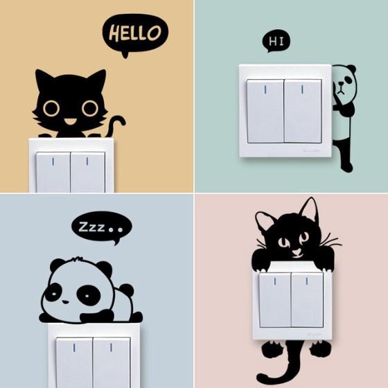 Art Diy Cartoon Cat Dog Wall Sticker Removable Home Room Decor Switch Decal Shopee Malaysia