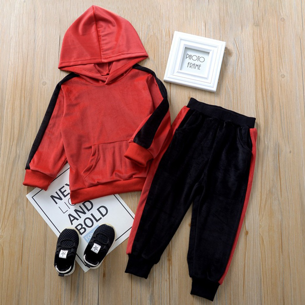 UK Stock 2Pcs Toddler Kids Girls Hooded Tops Spot Pants Trousers Outfits Clothes