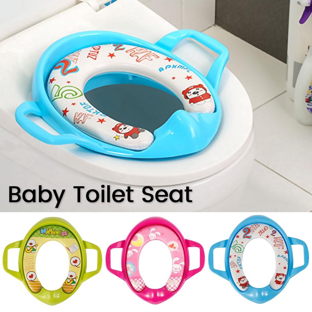 Baby Soft Padded Potty Training Toilet Seat W// Safety Handles Toddler Kids Child