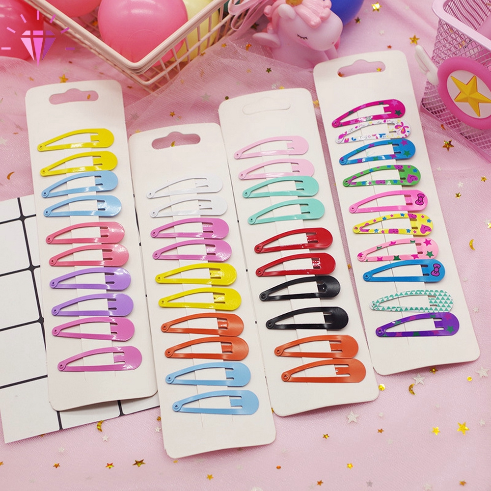 10Pcs Candy Color Hairpins Snap Hair Clip for Kids Girl Barrettes BB Clips Gifts