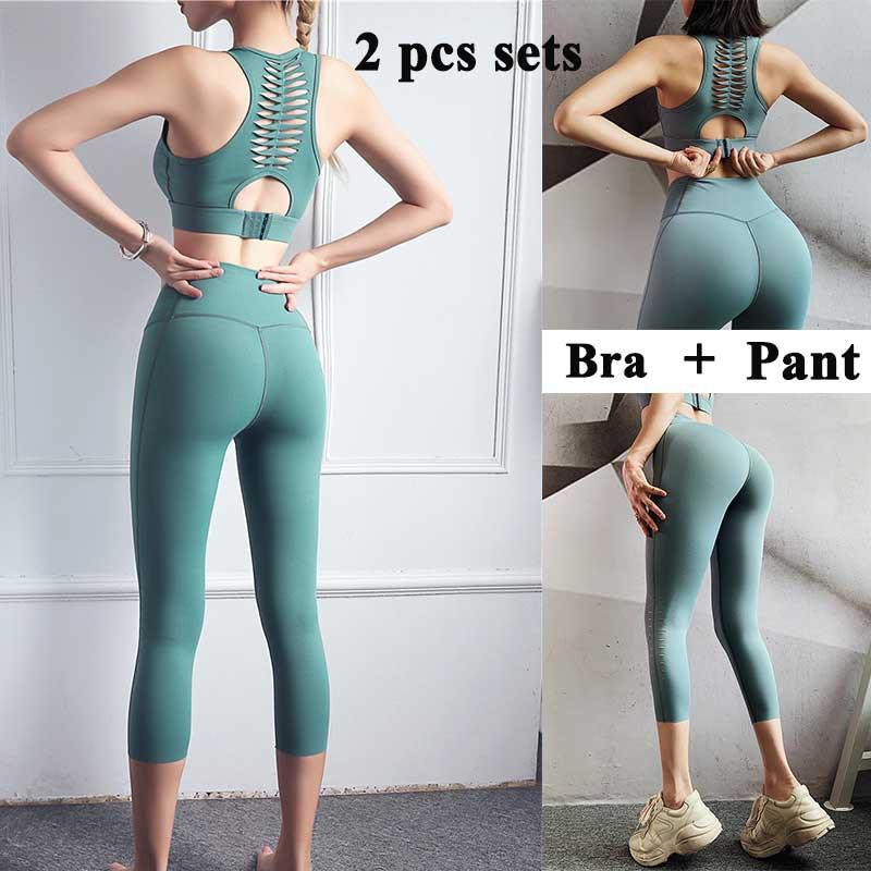 2 Pcs Women Sports Bra Pants Setwear Sportswear Gym Yoga Running Jogger Yoga Wear Sets Shopee Malaysia